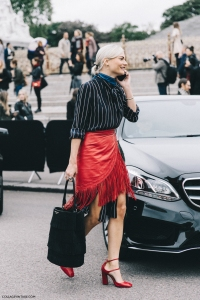 London_Fashion_Week-Spring_Summer_16-LFW-Street_Style-Collage_Vintage-Pandora_Sykes-Fringed_Skirt-Red_Shoes-Stripes-